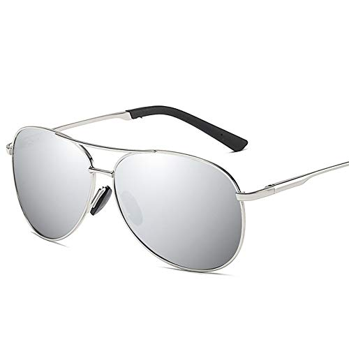 MoHHoM Sonnenbrille,Mode New Classic Polarisierte Sonnenbrillen Herren Retro Sonnenbrille Uv400 Silber