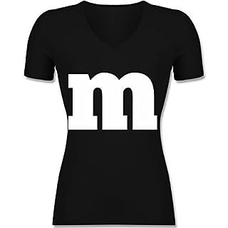 Karneval & Fasching - Gruppen-Kostüm m Aufdruck - S - Schwarz - XO1525 - Damen T-Shirt mit V-Ausschnitt