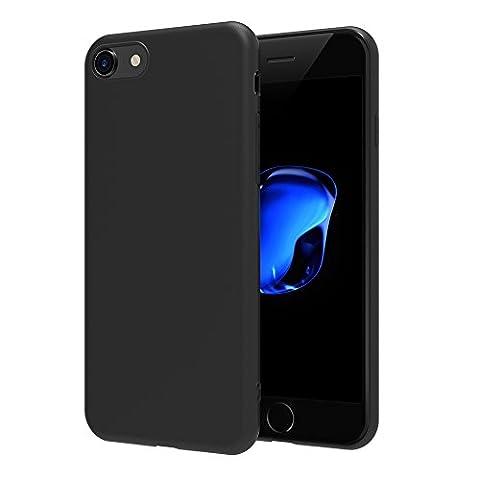 Coque iPhone 7, AICEK Noir TPU avec surface mate Étui Housse Pour iPhone 7 Coque de protection Housse légère profil en finition aphotique Pour Apple iPhone 7