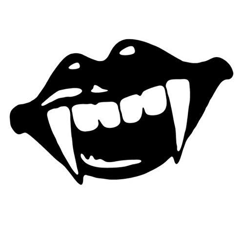 15.5X10.1CM Sharp Monster Mouth Kiss Vampire Lips Teeth Vinyl Decal Car Sticker Black/White Car-Styling (Kiss Lip Scrub)