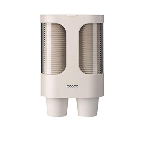 MHTECH Dispensador de vasos de papel desechables,hecho de plástico respetuoso con el medio ambiente,resistente al agua y al polvo,Diseño de montaje en pared-Tubo doble de gran capacidad-caqui