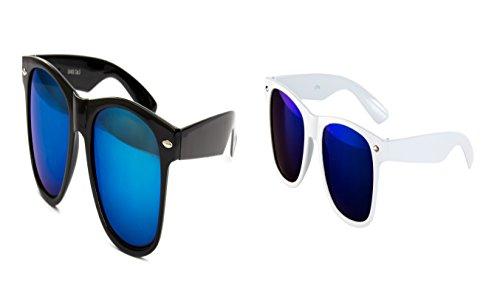 2 Brillen im Set Nerdbrille Nerd Brille Sonnenbrille Schwarz Blau Verspiegelt Weiß Set
