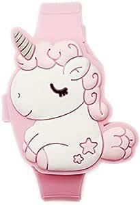 Grazioso orologio digitale per bambini a forma di coniglio, colore rosa, orologio LED da ragazza, alla moda, in silicone, apertura a scatto, orologio da polso per ragazza, perfetto come regalo