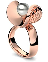 Golfschmuck Golf Schmuck Rotgold Ring Akoya Perle grau hochwertig vergoldet! + inkl. Luxusetui + Akoya Perle grau Ring Rotgold vergoldet Perlenring Rotgold vergoldet AM253 VGRTPGPE