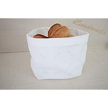 Großer Brotkorb Utensilo Stoff Weiß handmade Nr.3