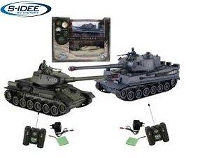 s-idee® 01919 2 x Battle Panzer 1:28 German Tiger T-34 mit integriertem Infrarot Kampfsystem 2.4 Ghz RC R/C Ferngesteuerter Panzer, Tank, Kettenfahrzeug 1:24, Neu 99824
