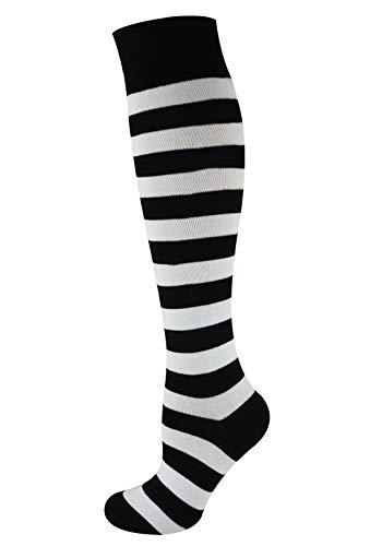 MySocks Unisex Kniehohe lange Socken Streifen Weiß schwarz