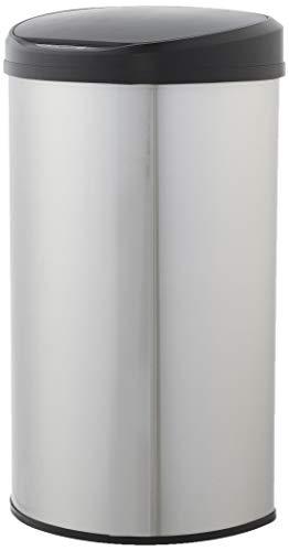 AmazonBasics Poubelle automatique en acier inoxydable, semi-circulaire, 50 litres