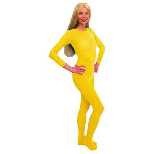PARTY DISCOUNT Body, gelb, Langarm, Größe S-M, Elastisch (Kleid Marge Simpson)
