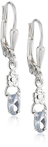 SilberDream Damen-Ohrringe kleine Blume mit hellblauen Zirkonia 925 Silber SDO535H Metall-ohrhaken