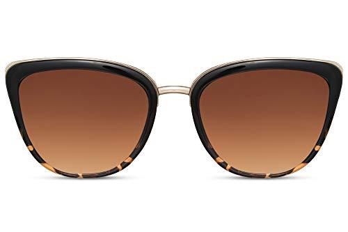 Cheapass Sonnenbrille Cat-Eye Braun Schwarz UV-400 Designer-Brille Leo-Print Groß Plastik Damen