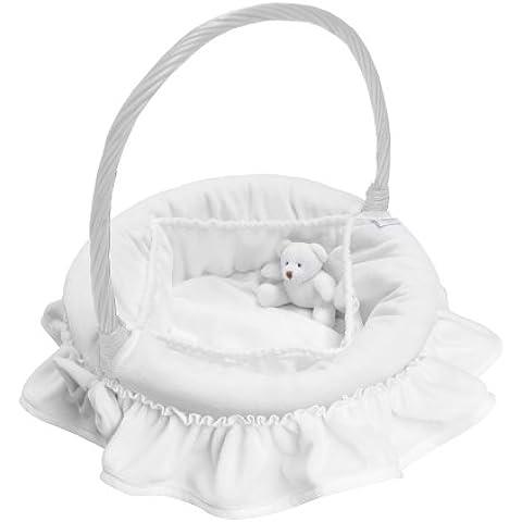 Câlin Câline Sacha 200.16 - Cesto redondo con osito de peluche para utensilios de baño de bebé, color blanco