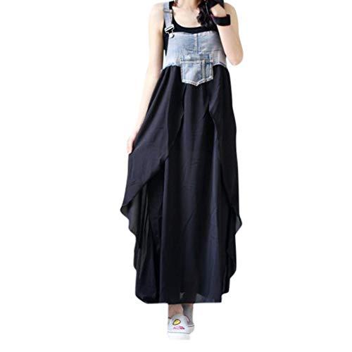 Wawer Damenmode Lose Kleid Damen Cowboy Rundhalsausschnitt beiläufige Tägliche Lange Tops Kleid Plus Größe (Cowboy-outfits Für Damen)