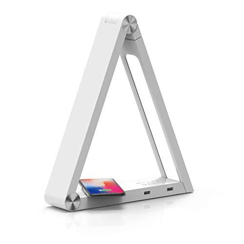 TAOUN LED-Dreieck-Tischlampen, Creative Desk Lights Wireless Charging Lampenfassung 90 ° drehbare Beleuchtung Körper angepasst 160 ° Höhe Dimmbar Study Office Dormitory,White -
