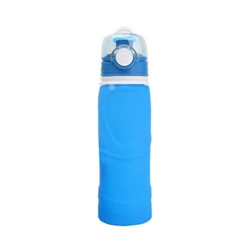 Outdoor-Silikon-Cup tragbare Falten Wasserflasche Reiten Sport Kessel zusammenklappbare Wasserflasche mit Leak Proof Twist Cap für die Reise Camping Wandern 1pc Blau - Squeeze Chute