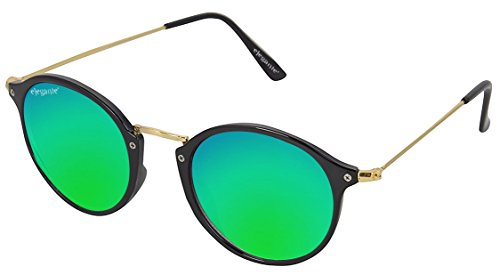 Elegante Golden Frame Bluish Green Mirrored Unisex Oval Sunglasses (Model : elt-15002/M)