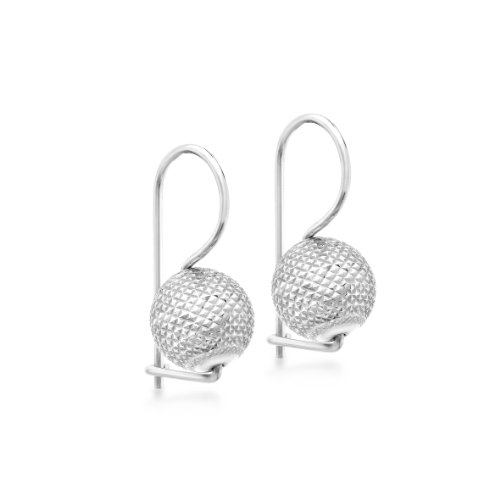 Carissima Gold Damen 9k (375) Weißgold 10mm quadrat Diamantschliff Ball Drop Ohrrringe 5.54.3309 - Drop Ball Gold Ohrringe
