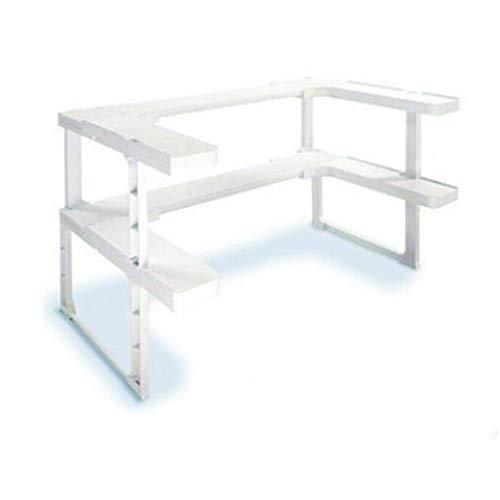 KingSaid Gewürzregal Innenschrank Regal Küche Gewürzständer Weiß Kunststoff Kein Bohren 64 Gewürz Glasgestellt 2 Flächer 26,5 x 41,5 x 31,5 cm