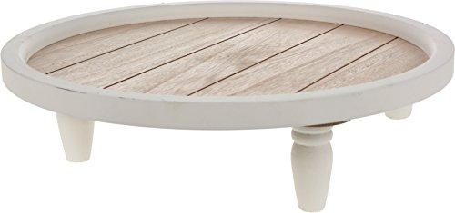 Deko Kerzen Tablett weiß - Shabby Chic Holz Teller - Vintage Kerzenteller rund