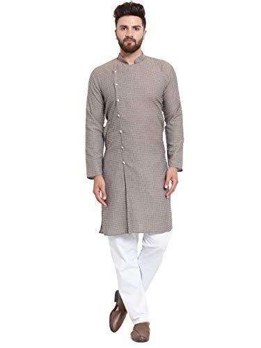 Jompers Men's Cotton Jacquard Kurta Payjama Set(Grey,XL)