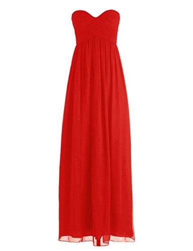 Dressystar Robe de demoiselle d'honneur/de soirée longue à Col en Cœur en mousseline Rouge