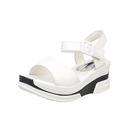 FNKDOR Plateau-Schuhe Platform Damen Sandalen Öffnen Toe (38, Weiß)