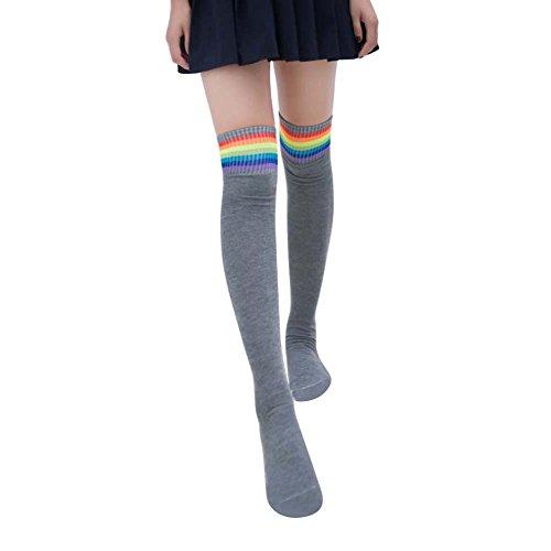 beiguoxia Frauen Mädchen Regenbogen Stripe Tube Socken über Knie Oberschenkel Hohe Cosplay Strümpfe