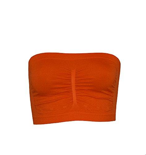 S&LU Damen UNI Bandeau Top in klasse Farben hoher Tragekomfort Orange