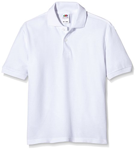 Fruit of the Loom childs 65/35 pique polo shirt White age 7 to 8