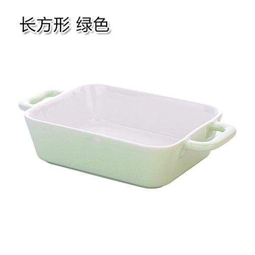 e Binaurale Pan rechteckige Bonbonfarbenen Keramik pasta Käse gebackener Reis Schalen für den Hausgebrauch Backblech platte Rectangle-Green (Reis-käse)