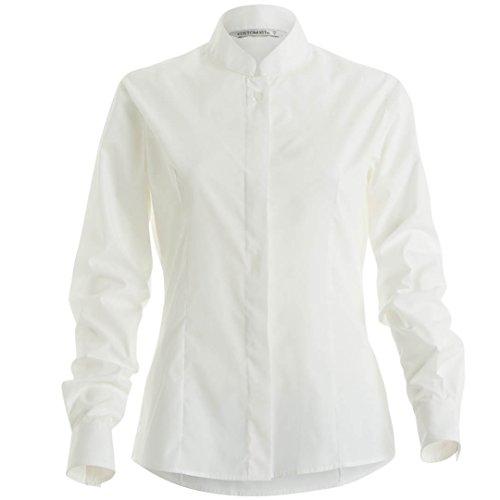 KUSTOM KIT Damen Formale Tragen Mandarin Collar Ausgestattet Shirt Langarm Bluse, Weiß