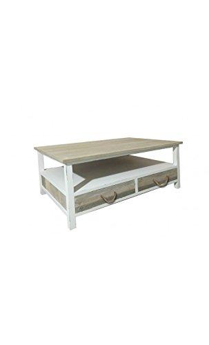 Socadis - Table basse 2 tiroirs bois clair patiné PALISSADE