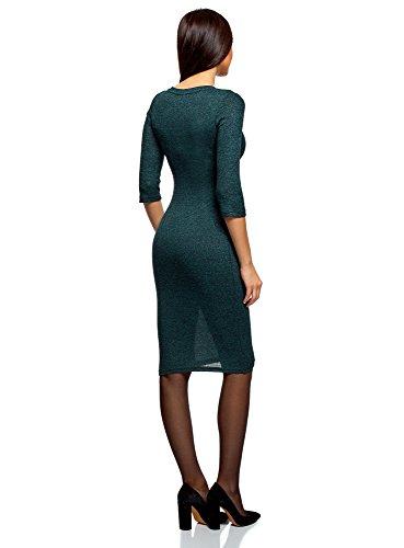 oodji Ultra Damen Mittellanges Geripptes Kleid Grün (7629M)