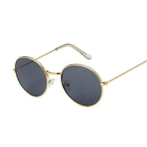 Daawqee Vintage Round Small Size Mirror Sunglasses Women Designer Metal Frame Lady Sun Glasses Female Cool Retro Oculos De Sol Gold Gray