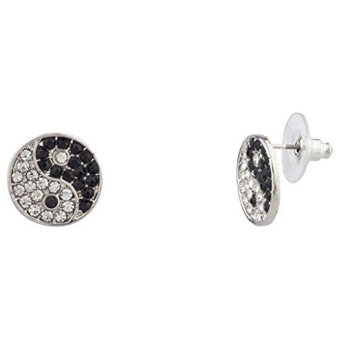 Lux Accessories Glatt Kristall Yin Yang Frieden Für Frauen Mädchen & Kinder (14k Weiß-diamant-ohrringe)
