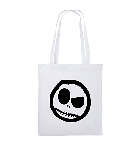Comedy Bags - BÖSER SMILY - COMIC - Jutebeutel - lange Henkel - 38x42cm - Farbe: Schwarz / Silber Weiss / Schwarz