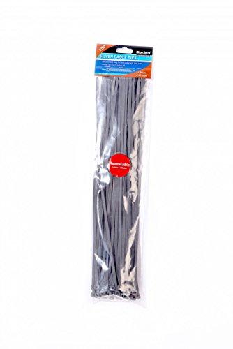 Blue spot 40061 - fascette stringicavo 370 x 4,8 mm, colore: argento, confezione da 50 pezzi