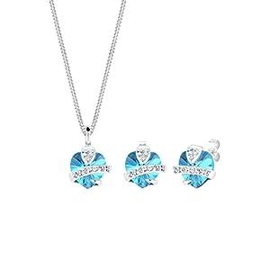 Elli Damen Schmuckset Herz Glamourös Swarovski Kristall in 925 Silber