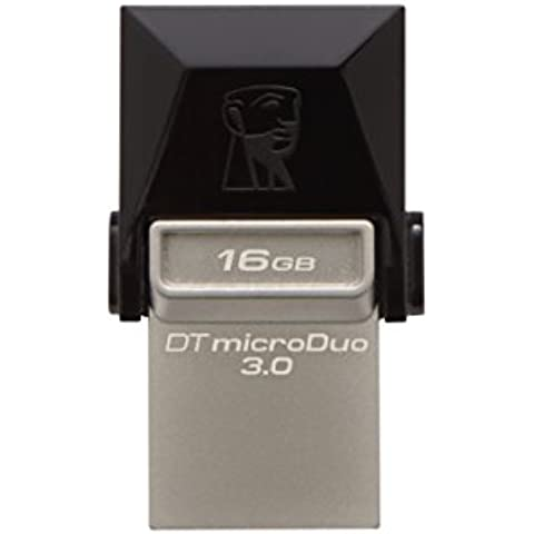 Kingston DTDUO3/16GB - Memoria USB de 16 GB (USB 3.0, Micro USB, 5 V, Flash), negro