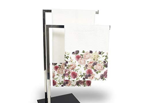 Set de serviettes et serviettes de bain en impression numérique ligne fresh roses Telo Bagno Rose