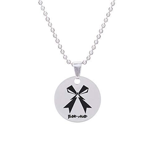 Saicowordist KPOP GOT7 VIXX Halskette aus Edelstahl Doppelseitig Spiegel Anhänger Brief Drucken Heißes Geschenk(Band Maid)
