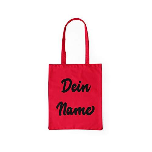 licaso Bolsa de Yute Personalizada con Texto en alemán Nombre se Puede Personalizar en una Bolsa de algodón con Asas largas. Bolsa de algodón 100%, Rojo, Jutebeutel