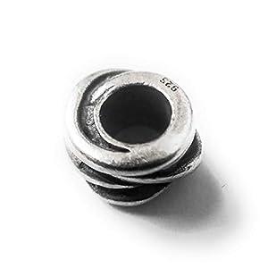 Moondrops Gedreht Schnur Abstandhalter – 925 Sterlingsilber Amulett Perlen – Europäischer