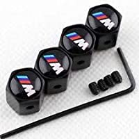 TGH (BMW-VB) Kit de Tapones para válvula Negros con Logo BMW ///M en Color con Sistema antirrobo