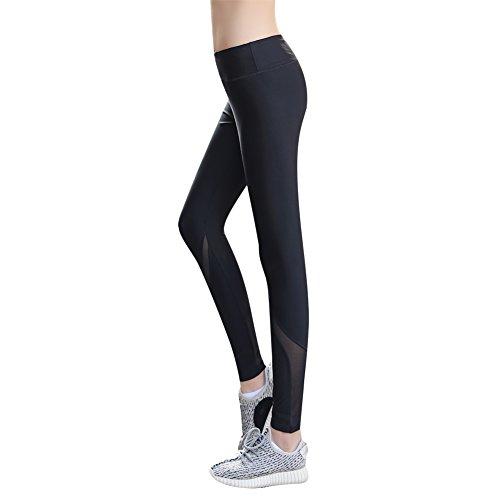 Uskincare Mujeres Yoga Leggings con Malla Push up Pantalones Deportivos (M---Cintura---64-74cm, Negro)