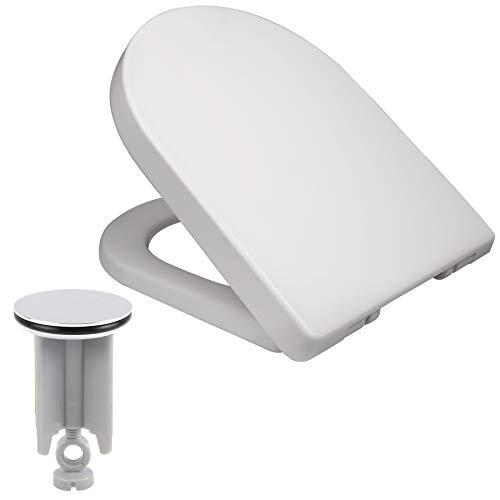 Toilettensitz mit Absenkautomatik, Schnellverschluss,aus Kunststoff, WC Sitz Softclose Scharnier, Antibakteriell, Waschbeckenstöpsel Set
