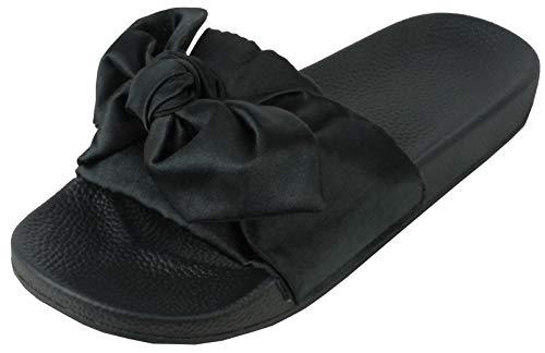 Bemeesh sandali ciabatte zoccoli donna in satin con fiocco