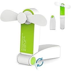 Ventilateur de poche pliable portatif de mini ventilateur de poche USB Rechargeable ou à piles ventilateur de bureau petits ventilateurs de voyage pour la maison, voyage, camping