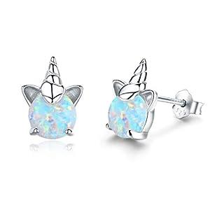 Ohrringe Mädchen Einhorn Ohrstecker Silber 925 Ananas Ohrringe Damen Opal Schmuck Geschenke für Frauen Kinder
