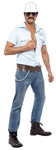 Smiffys, Herren Village People Bauarbeiter Kostüm, Hemd, Helm, Gürtel und Sonnenbrille, Größe: M, - Bauarbeiter Kostüm Für Erwachsene